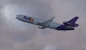 MD-11 de FedEx au décollage de l'aéroport de Eagle County (KEGE) (FSX)