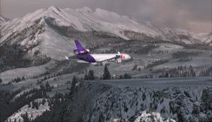 Un MD-11 de FedEx au-dessus du seuil de piste 09 à l'aéroport de Telluride (KTEX) (FSX)