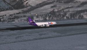 Un MD-11 de FedEx en freinage piste 09 à l'aéroport de Telluride (KTEX) (FSX)