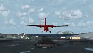 Avion Twin Otter en finale pour Rothera, Antarctique.