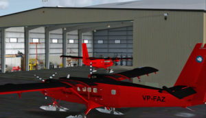 Le hangar principal de Rothera, Antarctique.
