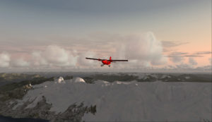 Avion Twin Otter en route pour l'aéroport de Rothera en Antarctique.