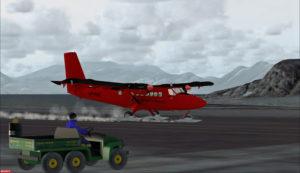 Avion Twin Otter de la BAS après un atterrissage sur la piste de Rothera, Antarctique
