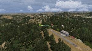 Au-dessus de la courte piste en pente de Limberlost Ranch