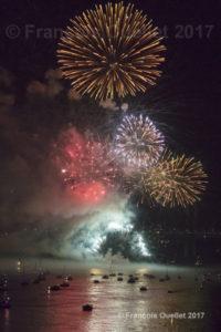 Feu d'artifice pour le centième anniversaire du Pont de Québec