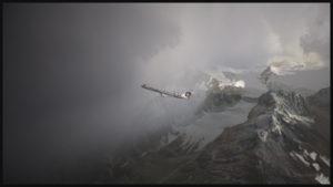 Le jet régional virtuel de Bombardier CRJ-900ER (Aerosoft) portant les couleurs de la compagnie Alaska Airlines est en montée dans la région de Valdez en Alaska (ORBX)
