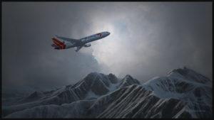 Un MD-11 cargo virtuel de la compagnie Martinair décolle de l'aéroport de Innsbruck en Autriche.