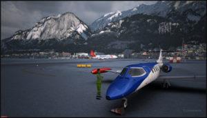 MD-11F virtuel conçu par PMDG en freinage piste 08 à Innsbruck