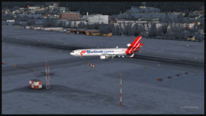 MD-11F virtuel de Martinair Cargo quitte la piste de l'aéroport d'Innsbruck