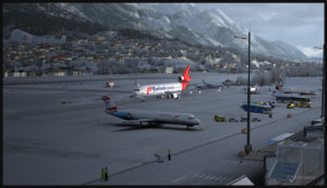 Aéroport d'Innsbruck virtuel et MD-11F de Martinair Cargo