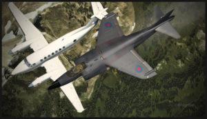 Avion virtuel Beechcraft B350 intercepté par un AV-8B Harrier.