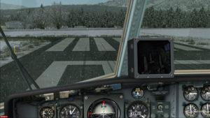 Avion-cargo C-130 immobilisé sur la piste de Bonners Ferry.