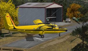 Avion virtuel du gouvernement de l'Ontario faisant demi-tour sur la piste de Limberlost Ranch.