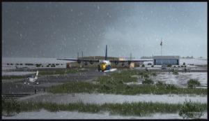Le C-130 Hercules des Blue Angels en attente derrière un monomoteur à l'aéroport de High River.