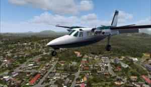 L'avion s'aligne face au vent pour l'approche à travers les pistes.