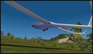 Planeur virtuel arrivant au-dessus de la piste de Fane Parish en Papouasie Nouvelle-Guinée. Les aérofreins sont sortis.
