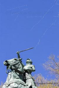 Jeanne d'Arc et les oies blanches. Parc Jeanne d'Arc, ville de Québec, 2017.