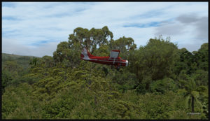 Le Otter d'Air Saguenay en approche pour la courte piste de Launumu en Papouasie Nouvelle-Guinée.