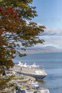Le navire Zuiderdam ancré dans le Port de Québec à l'automne 2018.