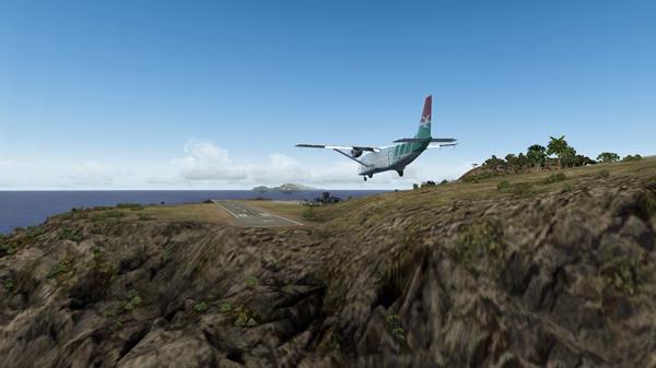 Le Shorts 360 est en courte finale pour la piste 12 de l'aéroport Juancho E. Yrausquin.