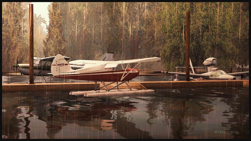 Piper Pacer en approche pour le quai de Robert's Lake en Ontario, Canada.