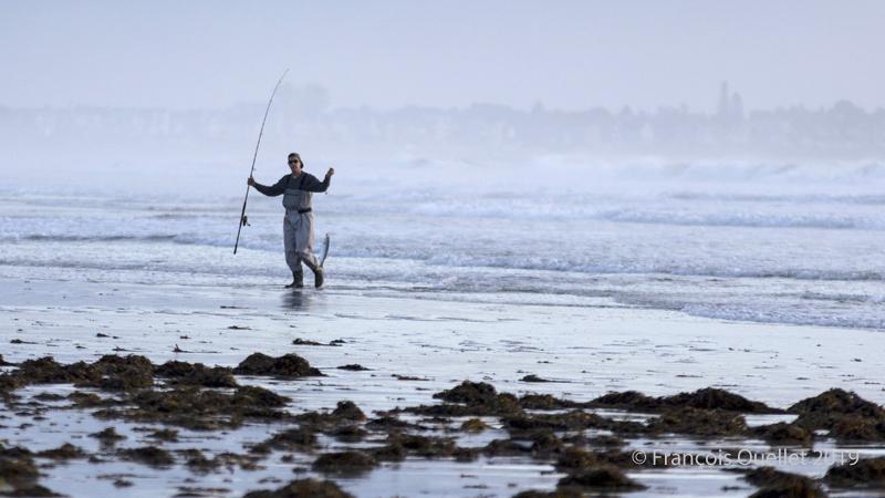 Pêcheur d'Ogunquit avec un Bar Rayé de l'Atlantique