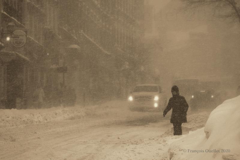 Le Vieux-Québec durant la tempête de février 2020