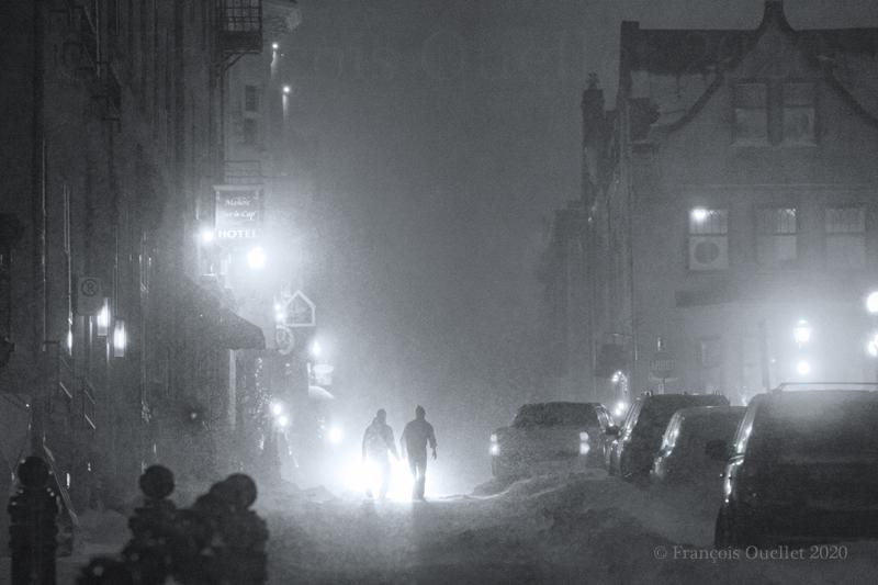 Tempête de neige dans le Vieux-Québec en 2020