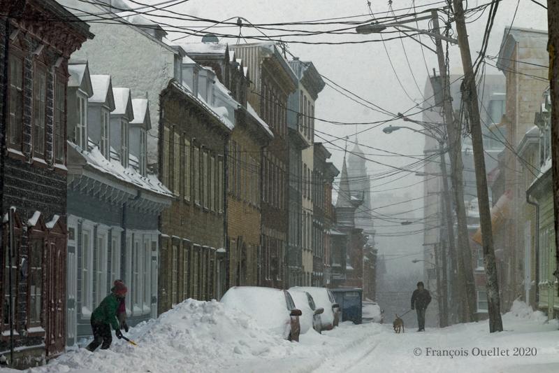 Ruelle enneigée de la ville de Québec février 2020