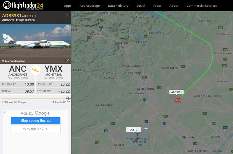 L'Antonov 225 ADB3381 en finale pour l'aéroport de Mirabel au Québec le 1er mai 2020.