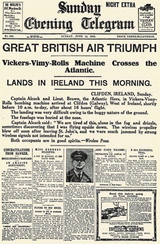 Manchette principale du Sunday Evening Telegraph en 1919.