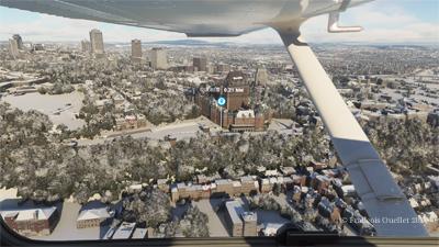 Vue aérienne de Québec sur le simulateur de vol Microsoft Flight Simulator 2020.