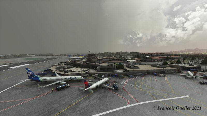 L'aéroport de Burbank Bob Hope modélisé par Orbx et sur le simulateur de vol MFS 2020.