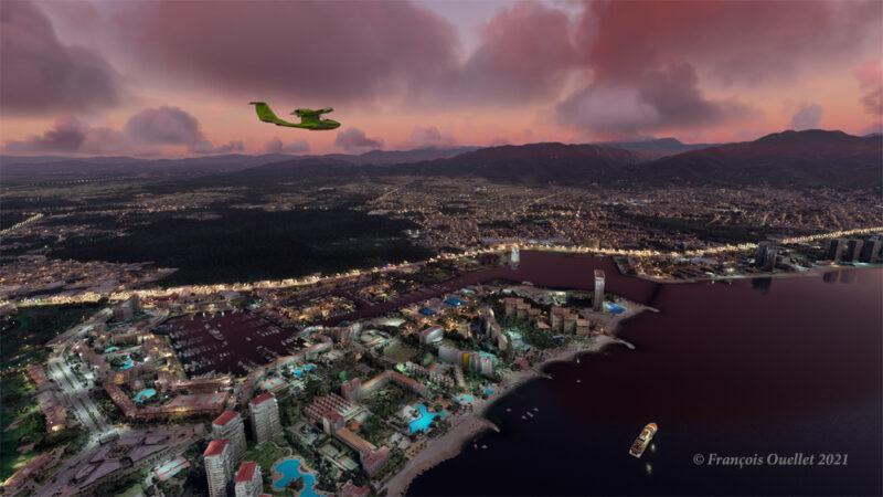 Une partie de la ville de Puerto Vallarta dans Microsoft Flight Simulator 2020 et améliorée par John Lovell.