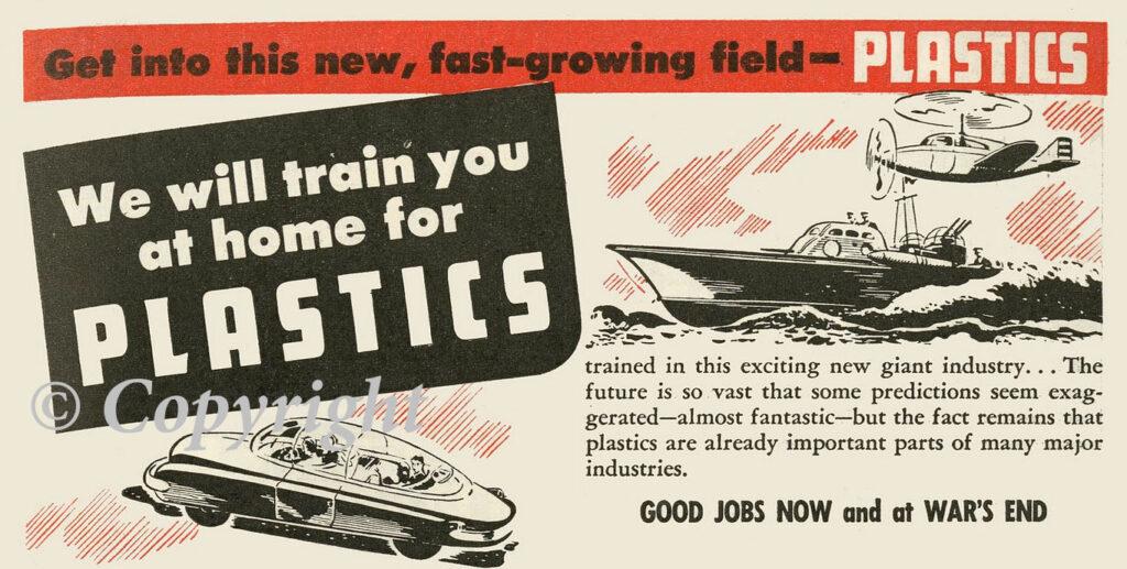 Ancienne publicité sur l'utilité du plastique.