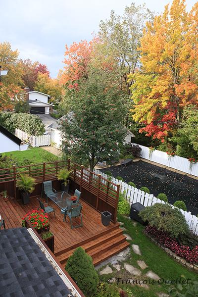 Vue générale de la première section du patio.