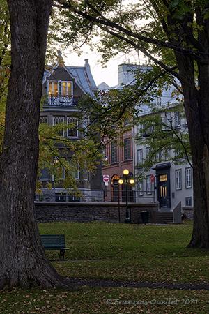 Houses at dusk in Old Quebec.
