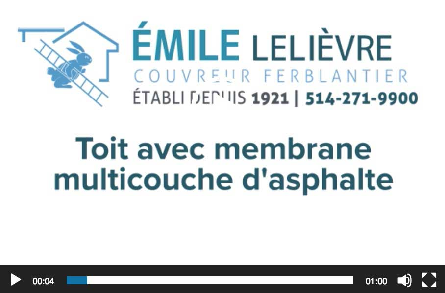 Toit avec membrane multicouche d'asphalte Couvreur Emile Lelievre Ferblantier