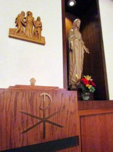 Mary and baptismal font