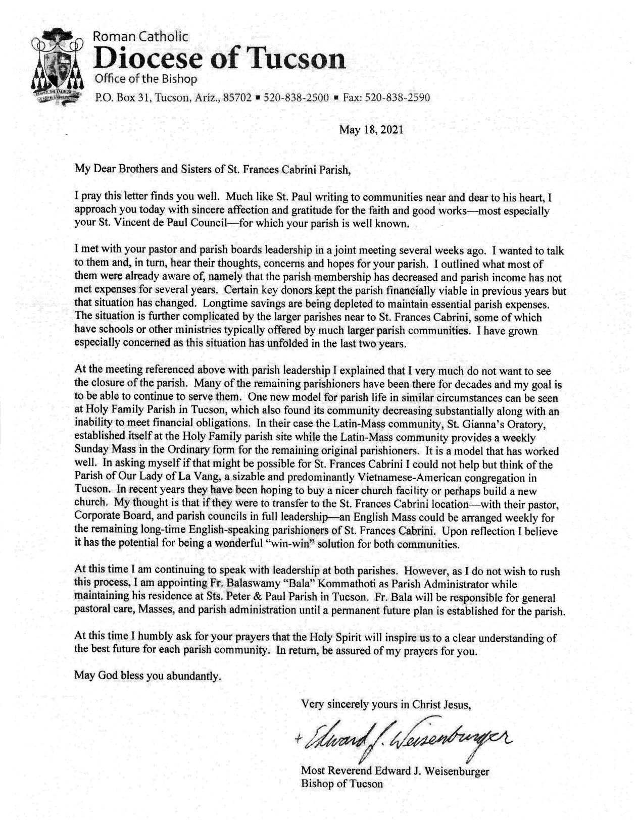 Bishop's letter