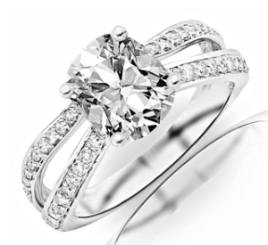 Chandni Jewels Double Pave Engagement Ring for $4,450   Engagement Ring Voyeur