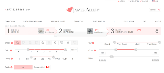 James Allen's diamond shopping interface