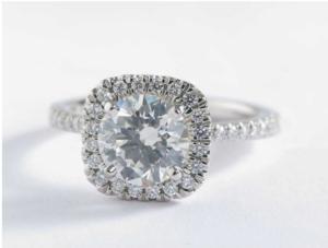 Blue Nile Arietta Cushion Halo Diamond Engagement Ring - $11,186 | Engagement Ring Voyeur