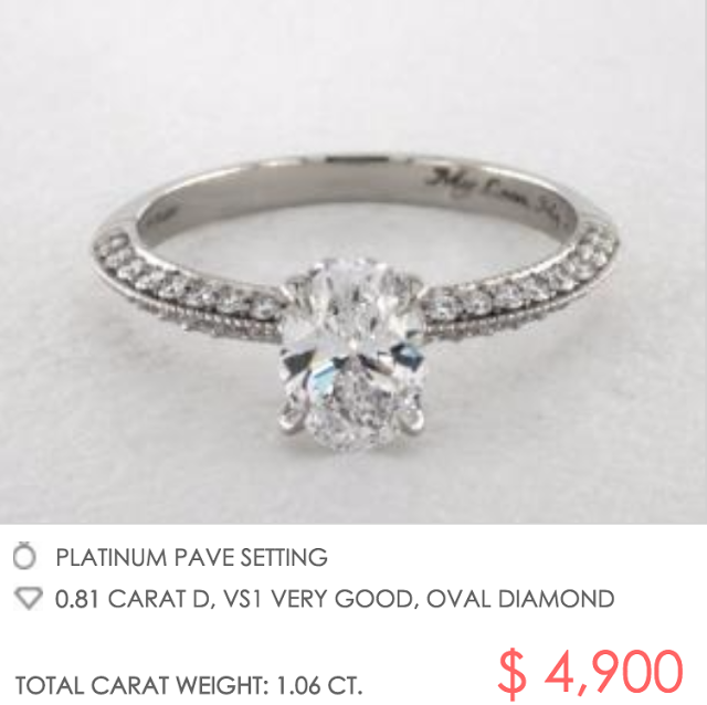 James Allen platinum setting with oval diamond under $5000