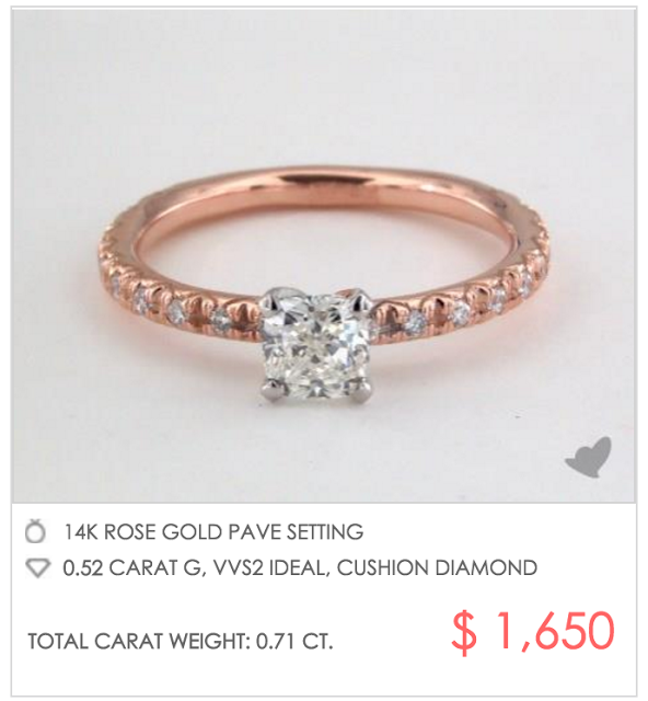 dainty rose gold pave setting under $2000