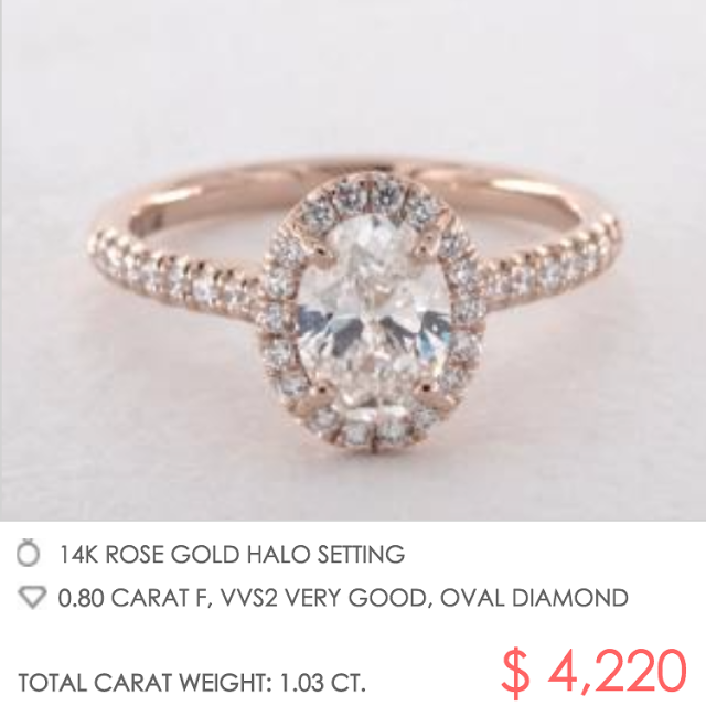Rose gold pave halo setting with oval diamond