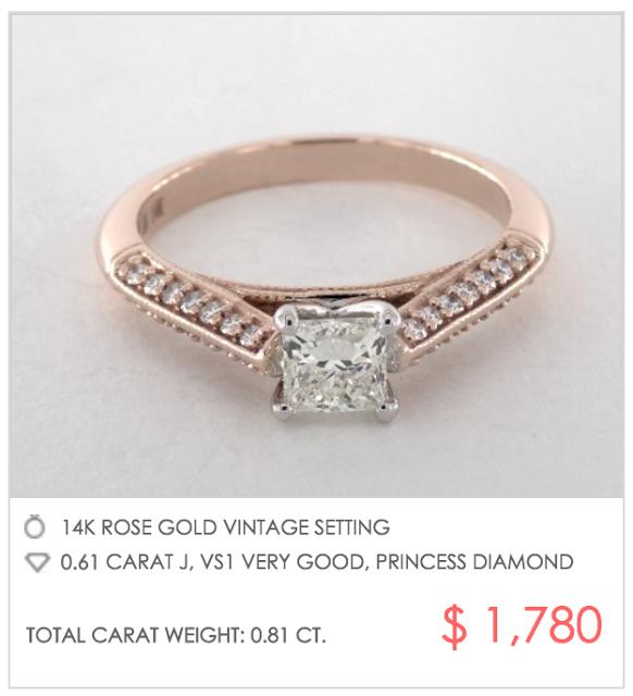 vintage rose gold setting under $2000