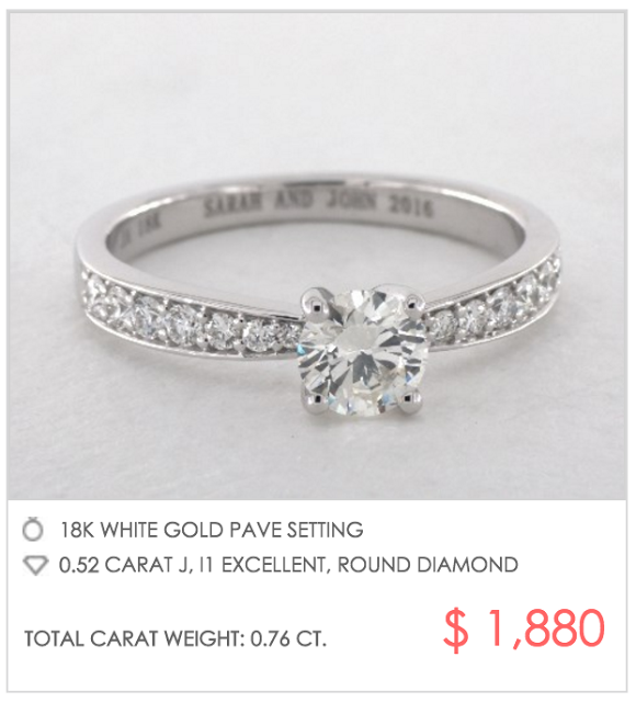 tapered pave setting under $2000