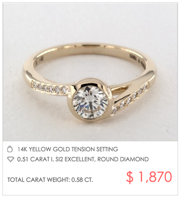 yellow gold tension setting under $2000