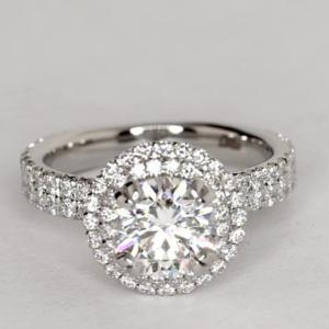 Blue Nile Studio Double Halo: $16,786 | Engagement Ring Voyeur